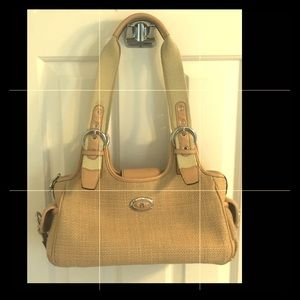 Etienne Aigner Khaki/Camel Leather Canvas Handbag
